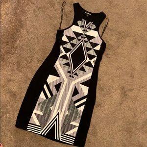Black Aztec express body con dress